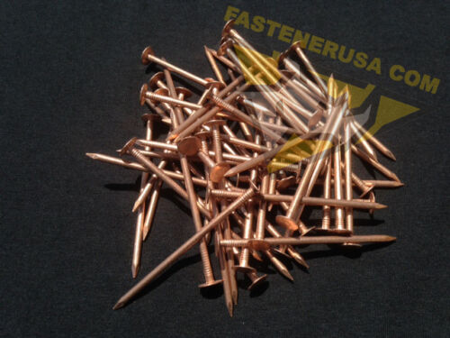 "50 pcs 3/"" Smooth Plain Shank Solid Copper Roofing Nails 10 gauge"
