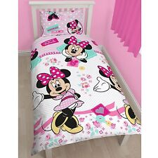 MINNIE MOUSE CROSS STITCH SINGLE DUVET COVER SET REVERSIBLE BEDDING GIRLS NEW