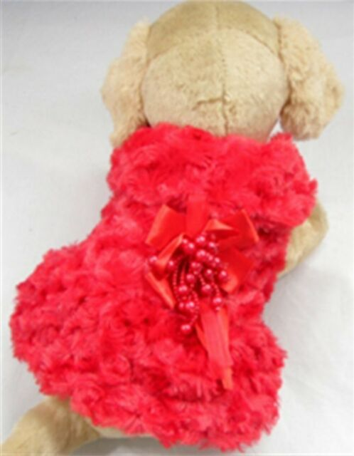 Soft Small Girl Dog Clothes Apparel Red Princess Bowtie Rose Dress For Winter