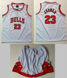 e382133d7 Kid Basketball Jersey Short Set - White #23 Michael Jordan Chicago ...