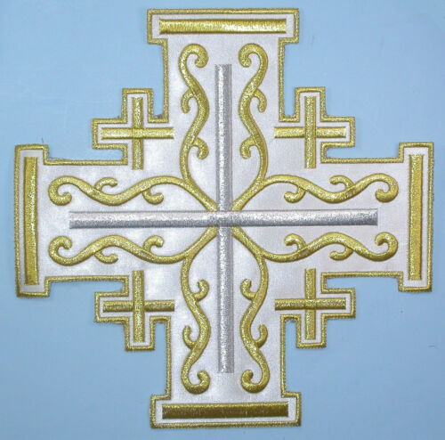 "10/"" x 10/"" Jerusalem Cross on Sateen Backing Iron On Applique"