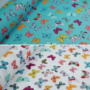 100% Cotton Poplin Fabric Rose & Hubble Bright Butterflies Fluttering