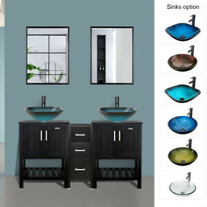 60 Black Bathroom Vanity Small Table Set Glass Vessel Sink Faucet Drain Combo Ebay