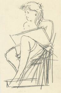 Peter Collins ARCA - c.1970s Graphite Drawing, Seated Figure
