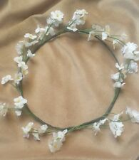 White Flower Crown Headband Festival Floral Halo Boho Hippie Head Wreath