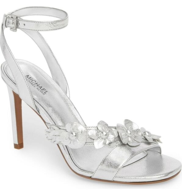 775a6e0a3621a Michael Michael Kors Wrap Around Heeled Sandals 600 Silver 7 US   37 ...