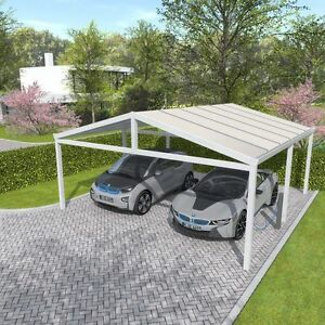 doppel carport satteldach 615x800 cm unterstand berstand aluminium bausatz wei ebay. Black Bedroom Furniture Sets. Home Design Ideas