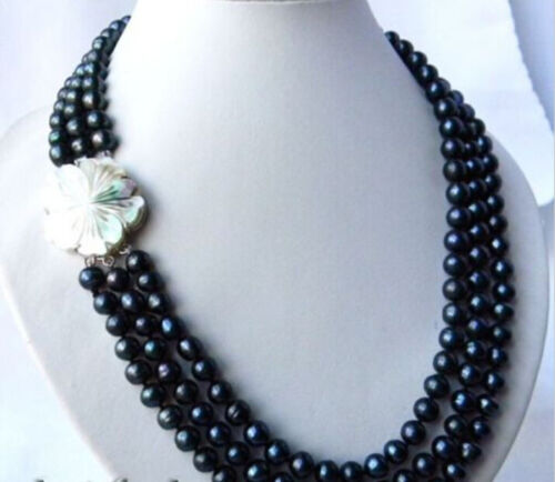 """Handmade 3Strands 6-7mm Black Round Freshwater Pearl Necklaces 17-19/"""""""