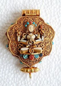 Silver gold plated gau ghau tibetan shrine prayer box pendant from image is loading silver gold plated gau ghau tibetan shrine prayer aloadofball Gallery