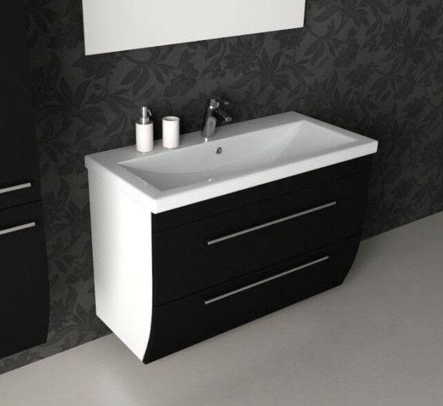 CG Bagno Seta 1000mm nero bianco doppio cassetto cassetto cassetto Vanity lavabo unità con lavello 243aa1