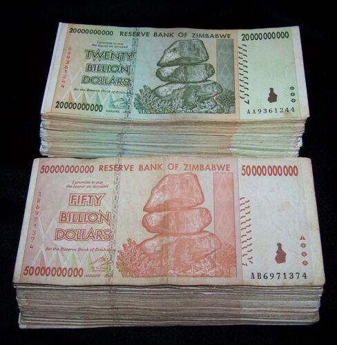 50 Zimbabwe Banknotes-25 x 20 /& 50 Billion Dollars circulated AA//AB 2008