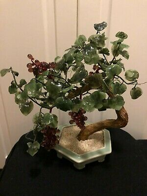 Vintage Chinese Jade Glass Grape Bonsai Tree With Ceramic Pot Ebay
