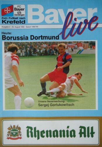 Borussia Dortmund Programm 1992//93 Bayer 05 Uerdingen