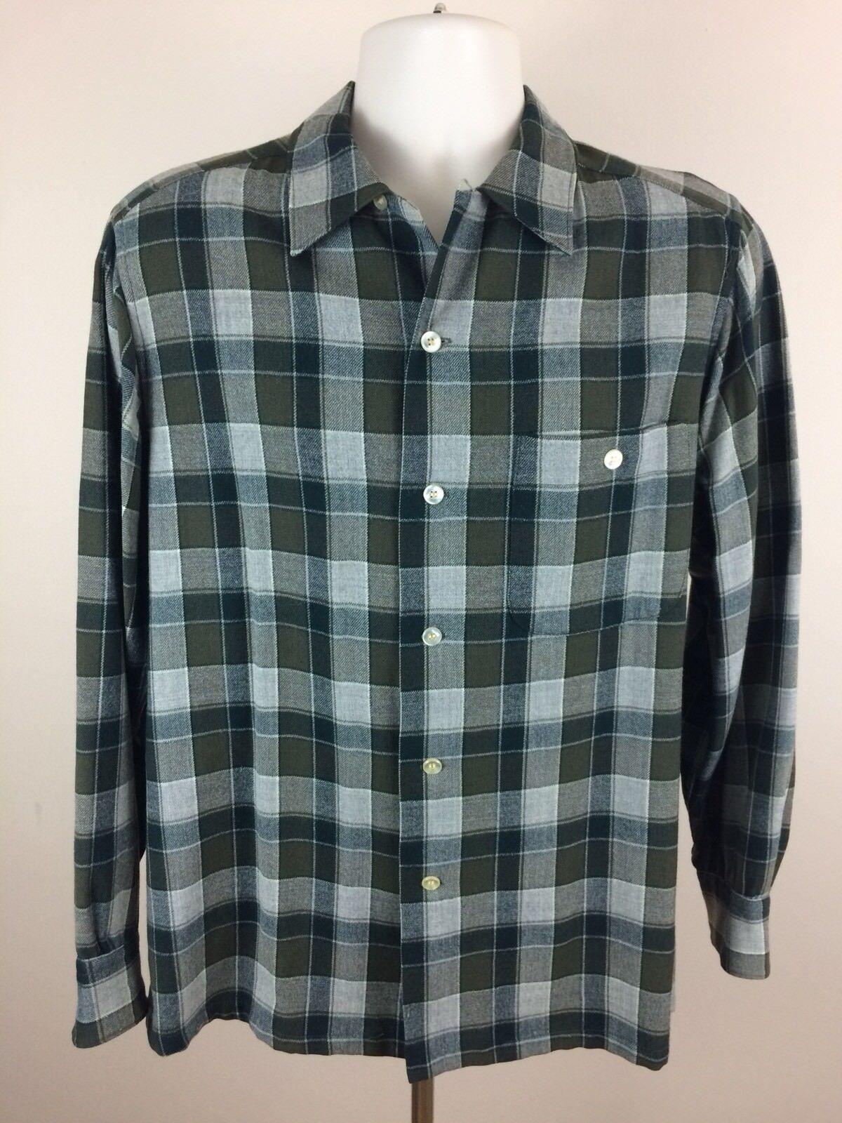 Vtg 60s Sir Pendleton Loop Collar 100% Virgin Wool Button Up Casual Shirt Medium