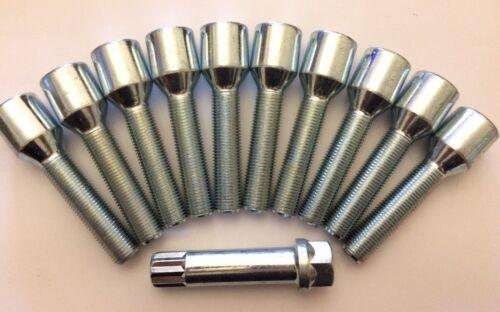 10 X Sintonizador M14X1.5 llave 70 mm De Largo Rosca 45 mm Ruedas De Aleación Pernos se ajusta a Mercedes