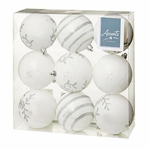 Arbre de Noël Décoration-Pack de 9 80 mm Boules-Blanc