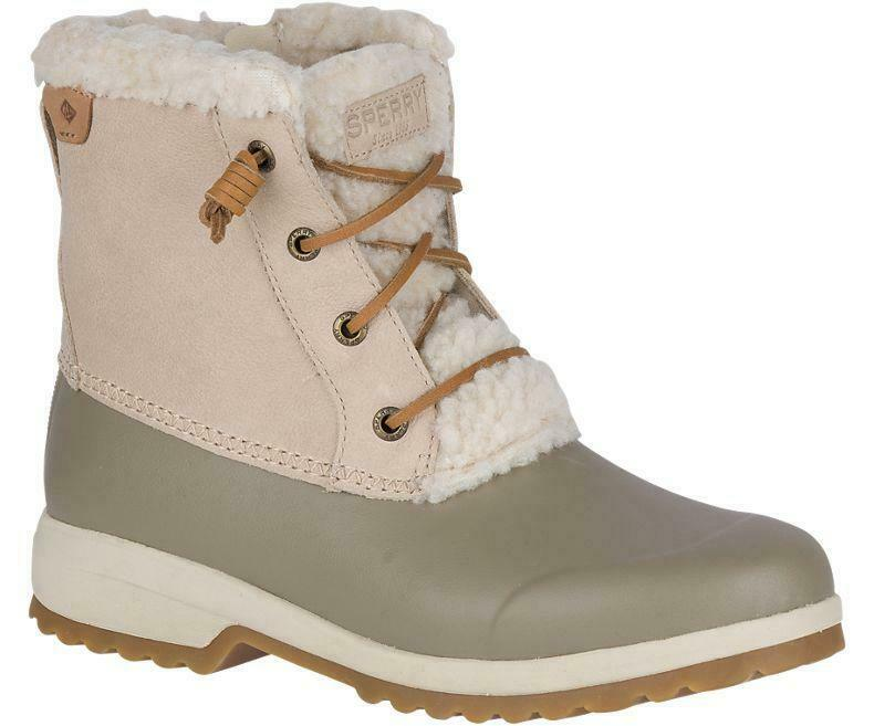 Sperry Women's Maritime Repel Duck Booties Taupe Ivory Pick A Size, MSRP  130