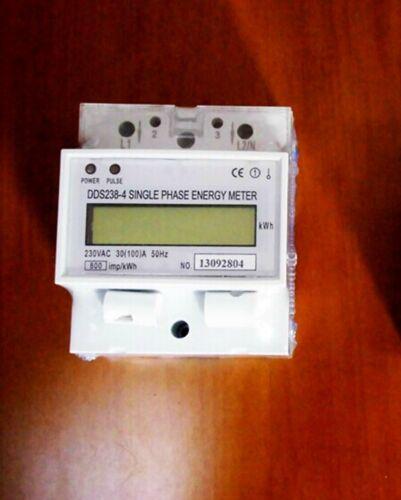 DDS238-4 110V 20 a 60Hz LCD de una sola fase Riel Din kilovatio hora Contador de energía 100