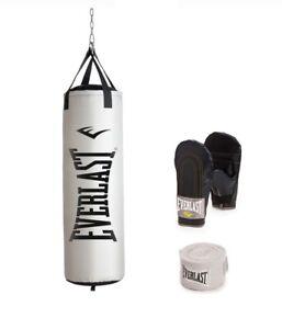 Everlast 100 LB Nevatear Heavy Punching Bag Kit Gloves Wraps Boxing MMA