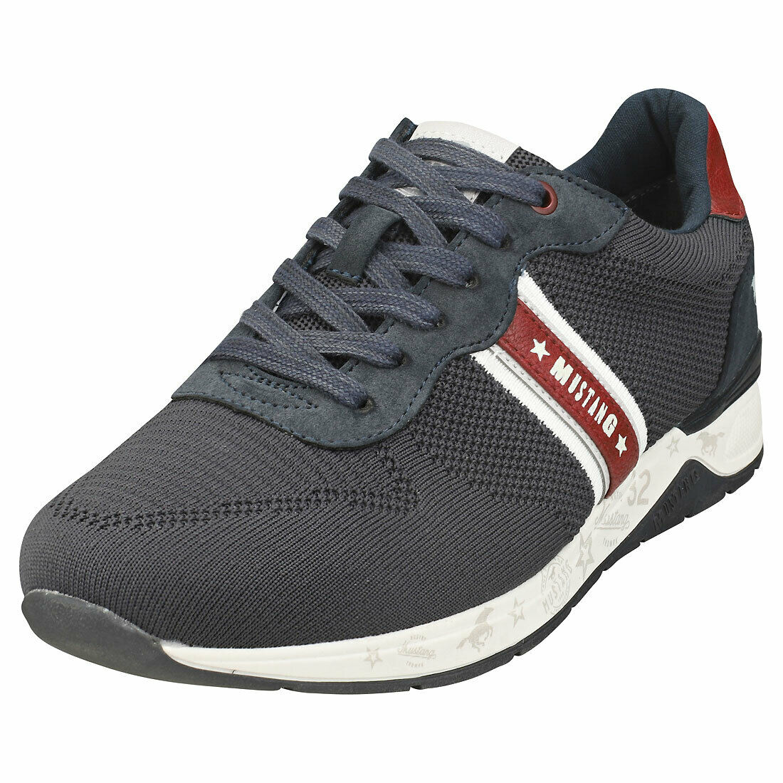 Mustang Lace Up Low Top Mens Navy Trainer beilaufig