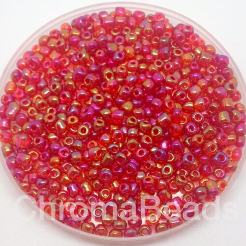 Red Rainbow size 6//0 50g glass seed beads jewellery making approx 4mm