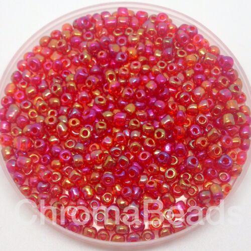 ca 4mm schmuckherstellung größe 6//0 50g glas strickperlen Rot Regenbogen