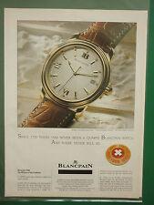 12/1996 PUB MONTRES SUISSE SWISS WATCHES BLANCPAIN 2100 ORIGINAL ADVERT