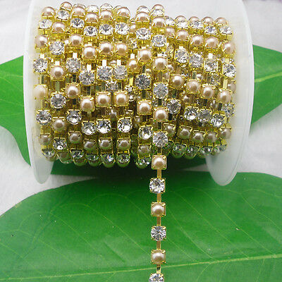 SS30 Costume applique 6mm Pearl+ Crystal glass Rhinestone Golden Trimming Chain