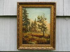 NICE Antique Framed Wooded Mountain Landscape Painting