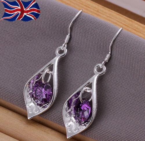 Chapado en Plata Esterlina 925 Violeta Cristal Pendientes Colgante grabado brillante