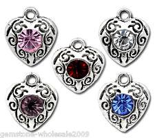 50PCS Wholesale W09 Mixed Rhinestone Love Heart Charm Pendants 12x10mm