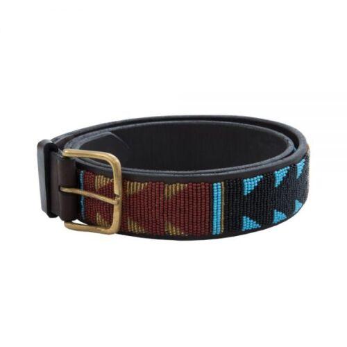 Masaai//masai//maasai beaded blue and black men leather belt