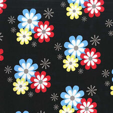 Michael Miller FLOWER FROLIC  Floral Flowery Atomic Starburst Fabric - Black