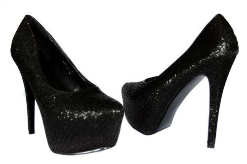 Elegante Damen Plateau Abendschuhe Pumps GoGo High Heels Gr.36-41 Schwarz  A128