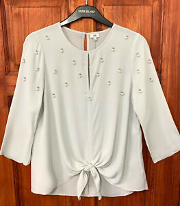 River-Island-New-Womens-Grey-Cluster-Embellished-Tie-Front-Top-Blouse-Sizes-6-18