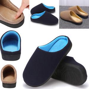 5ed34d77070 Men s Memory Foam House Slippers Slip On Comfort Breathable Cotton ...
