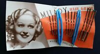 Vintage Hair Barrettes - milady Blue Barrettes With 3 Size Bobby Pins