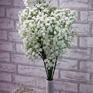 1x artificial flowers white gypsophila floral bouquet fake wedding image is loading 1x artificial flowers white gypsophila floral bouquet fake mightylinksfo