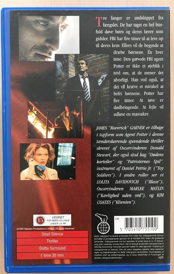 Action, Dead Silence (1997) sjældent gidseldrama VHS,