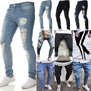 Men-039-s-Ripped-Biker-Skinny-Jeans-Frayed-Destroyed-Trousers-Casual-Denim-Pants-US