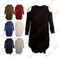 Ladies Women's Shoulder Cut Out Long Sleeve Baggy Oversized Mini Dress Top 8-14