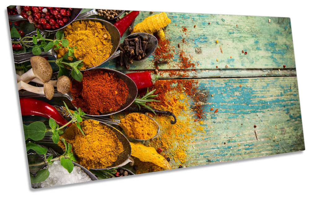 Herbs Spices Food Kitchen Framed PANORAMIC CANVAS Drucken Wand Kunst
