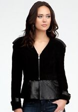 $300 NEW bebe velor genuine LEATHER top moto coat Outerwear zipper jacket XS 0 2
