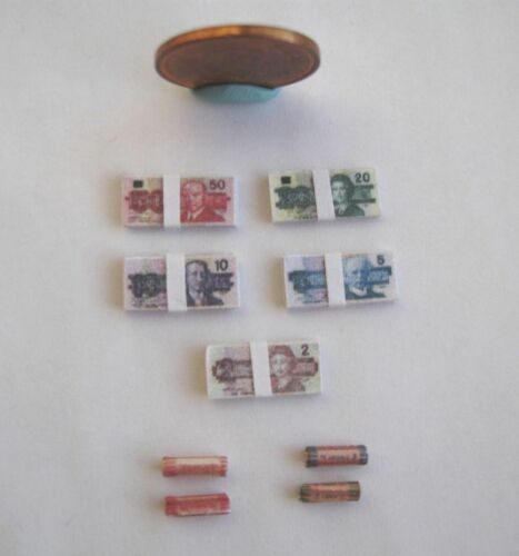 DOLLHOUSE MINIATURE STACKS OF MONEY BILLS /& COIN ROLLS OLD CANADIAN 1:12 SCALE