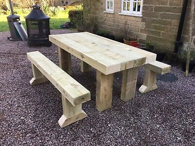 Rustic Solid Wooden Sleeper Outside Table And Benches Garden