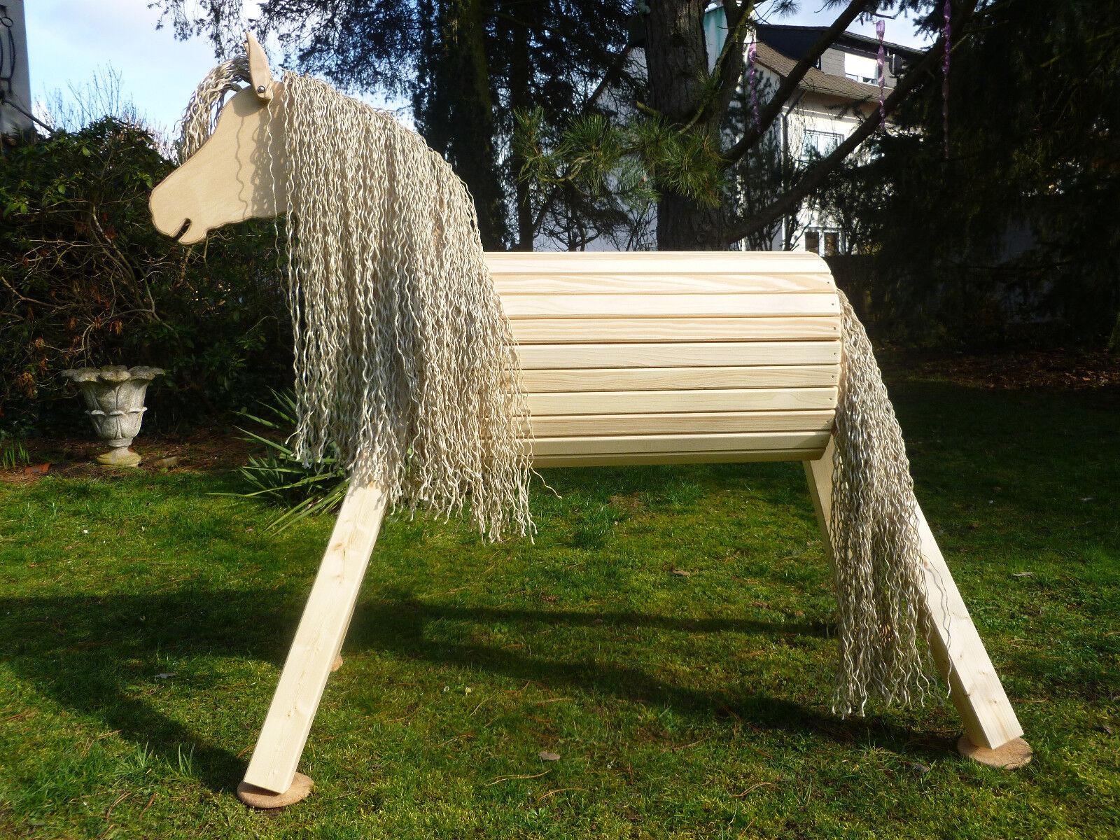 80cm Holzpferd Voltigierpferd Pony Pferd mit Maul für Trense farblos lasiert