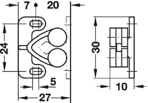 Häfele Doppel-Rollenschnäpper Möbelschnäpper Kugelschnäpper Ladenschnapper weiß