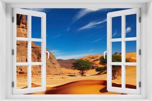 Wandario Acrylglasbild Fenster-Illusion 60 x 90 cm mit Fensterrahmen- In Wüste