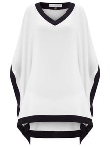 Jacques Grün Contrast Trim Tunic Blk Ivory Größe S rrp  DH088 AA 16