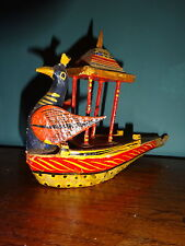 Vintage mid 20th Century Carved Wooden Polychrome Figure Peacock Boat India